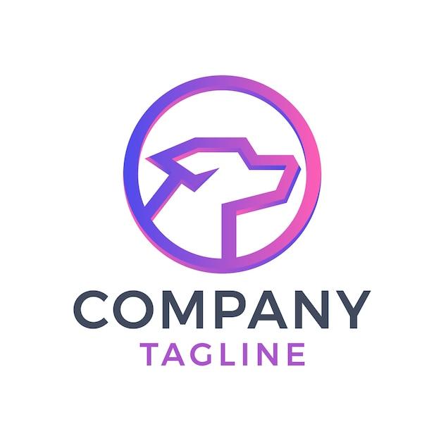 Moderno círculo simple perro monoline mascota diseño de logotipo degradado púrpura 3d