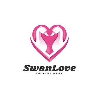 Moderno cisne ganso y corazón amor logo