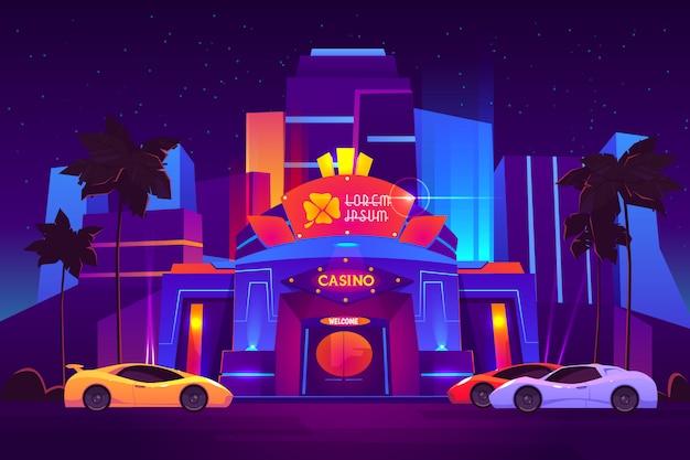 Moderno complejo hotelero de lujo en el exterior del casino con una luminosa iluminación de neón