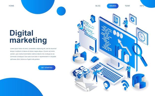 Moderno concepto de diseño isométrico del marketing digital.