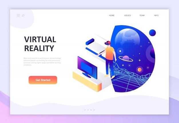 Moderno concepto de diseño plano isométrico de realidad virtual aumentada.