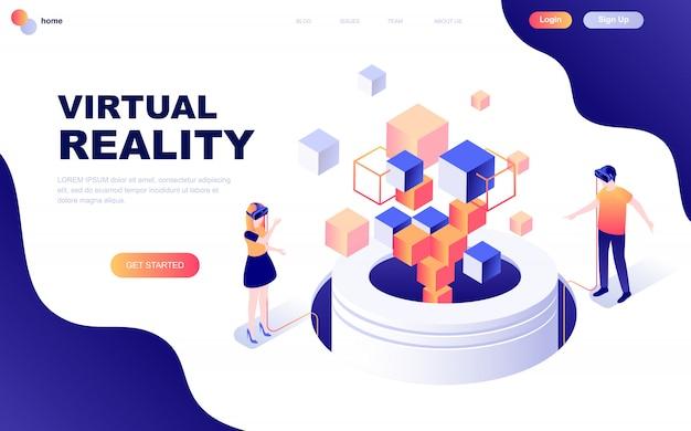 Moderno concepto de diseño plano isométrico de la realidad virtual.