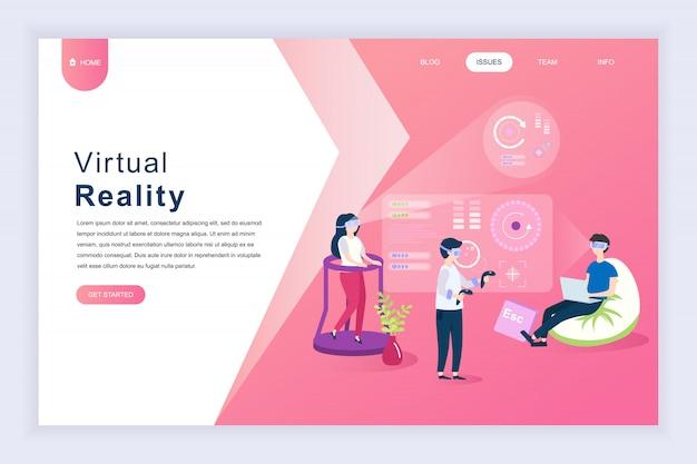 Moderno concepto de diseño plano de realidad virtual para sitio web.