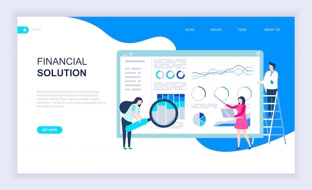 Moderno concepto de diseño plano de la solución financiera.