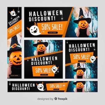 Moderno conjunto de banners de rebajas web de halloween