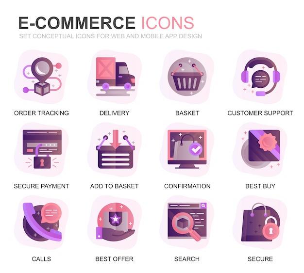 Moderno conjunto de e-commerce y compras iconos planos degradados