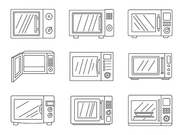 Moderno conjunto de iconos de microondas