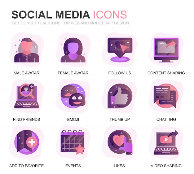 Moderno conjunto de redes sociales y red iconos degradados planos