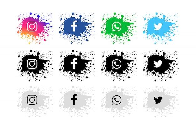 Moderno conjunto de redes sociales splash