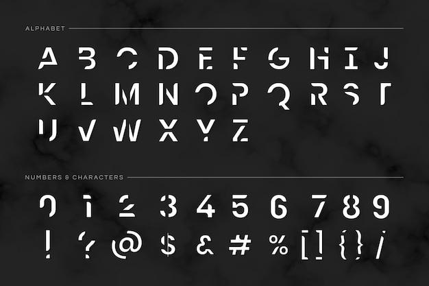 Moderno conjunto tipográfico futurista.