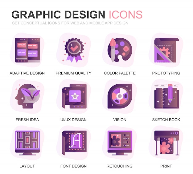 Moderno conjunto web y diseño gráfico degradado de iconos planos