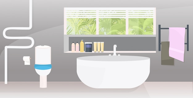 Moderno cuarto de baño interior vacío nadie apartamento con muebles horizontales