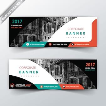 Moderno diseño de dos caras de banner