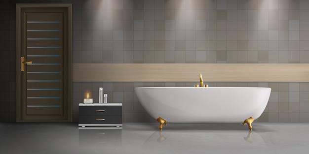 Moderno diseño interior de baño, maqueta realista con bañera blanca independiente de cerámica.