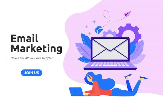 Moderno diseño plano para email marketing.