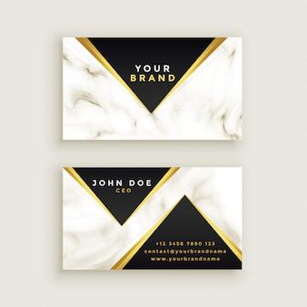 Moderno diseño de tarjeta de visita de mármol premium.