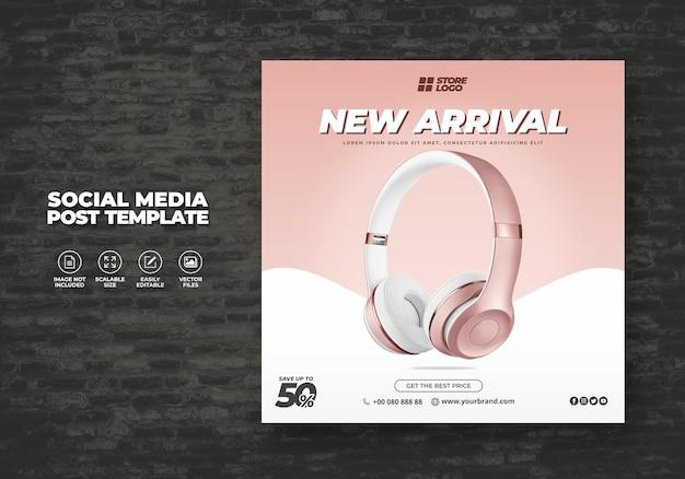 Moderno y elegante auriculares inalámbricos de color oro producto de marca para redes sociales plantilla banner