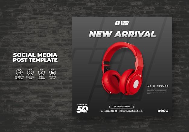 Moderno y elegante auriculares inalámbricos de color rojo producto de marca para banner de plantilla de redes sociales
