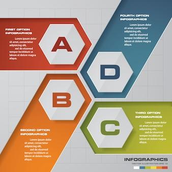 Moderno elemento de proceso de 4 pasos para la presentación