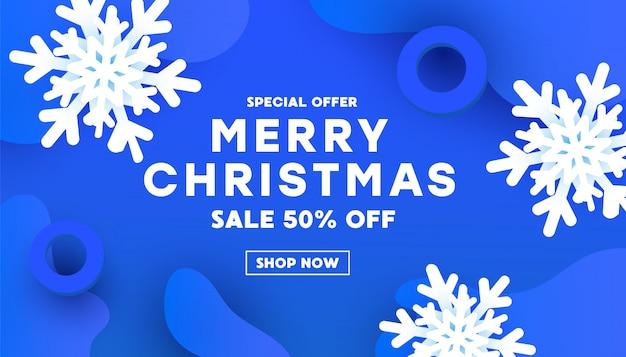 Moderno feliz navidad feliz año nuevo papel cortado forma en un azul con sombras.