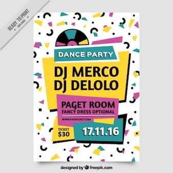 Moderno folleto memphis de fiesta de baile