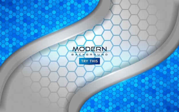 Moderno fondo abstracto blanco y azul con efecto de líneas brillantes