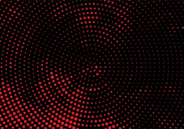 Moderno fondo punteado circular rojo y negro