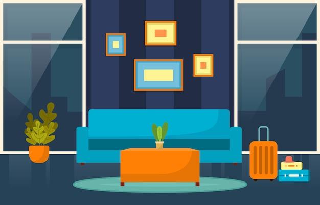 Moderno hotel lobby habitación muebles decoración interior ilustración