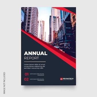 Moderno informe anual con formas rojas.