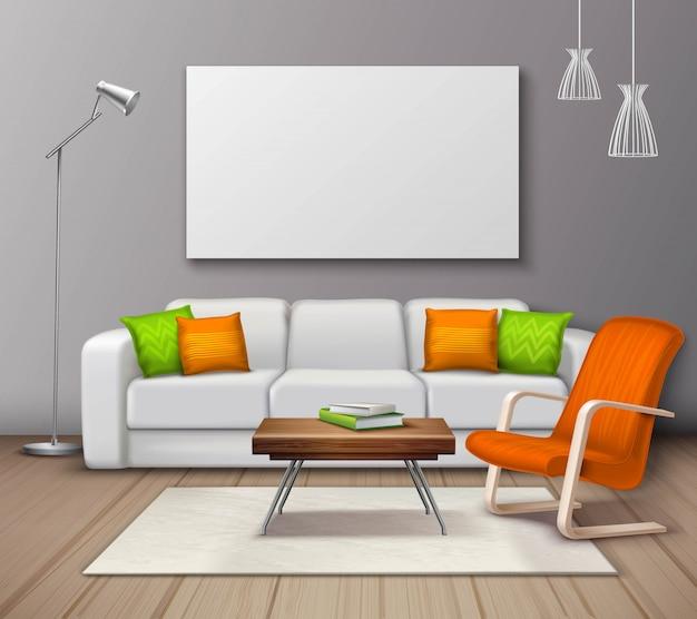 Moderno interior colores maqueta realista cartel