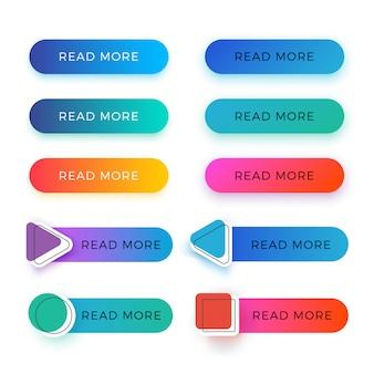 Moderno leer más botones de vector de color aislados