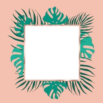 Moderno marco de hojas tropicales con decoraciones en oro rosa.