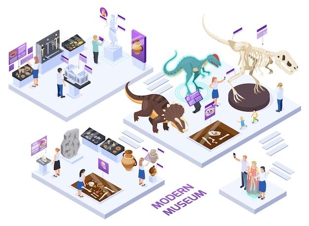 Moderno museo de historia natural con salas isométricas con fósiles de dinosaurios