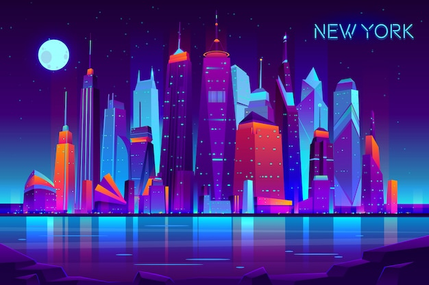 Moderno paisaje de la noche de vector de dibujos animados de nueva york