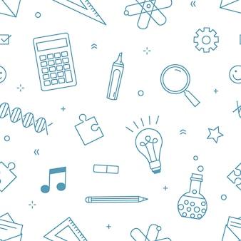 Moderno patrón sin costuras con suministros para la educación escolar, universitaria o universitaria e investigación científica dibujada con líneas de contorno en blanco