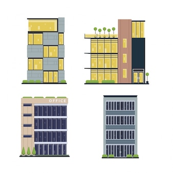 Moderno, plano, comercial, edificio de oficinas, conjunto