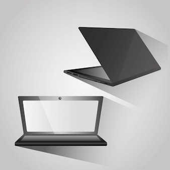 Moderno portátil abierto en la parte trasera y dispositivo de vista lateral digital.
