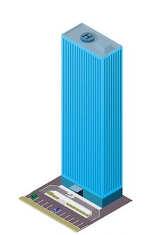 Moderno rascacielos isométrico con zona de aparcamiento y coche.