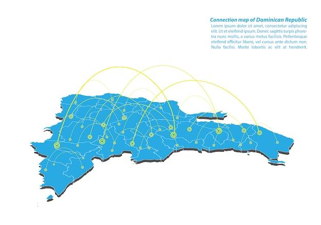 Moderno de república dominicana mapa de red de conexiones de diseño