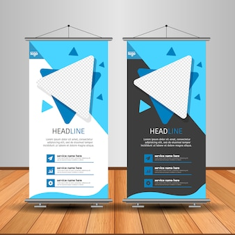 Moderno roll up banner con forma abstracta