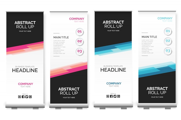 Moderno roll up banner con formas abstractas.