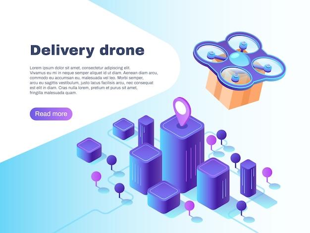 Moderno sistema de entrega futurista con vehículos aéreos no tripulados no tripulados.