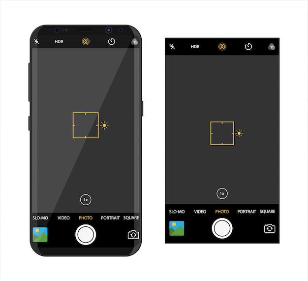 Moderno teléfono inteligente con aplicación de cámara.