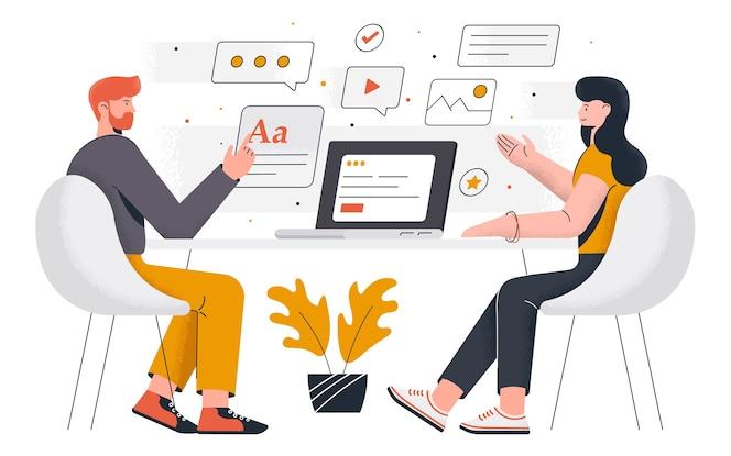 Moderno de trabajo de oficina. hombre joven y mujer trabajando juntos en el proyecto. trabajo de oficina y gestión del tiempo. fácil de editar y personalizar. ilustración