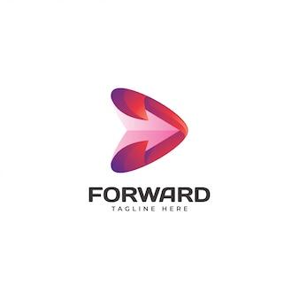 Moderno triángulo flecha adelante jugar logo