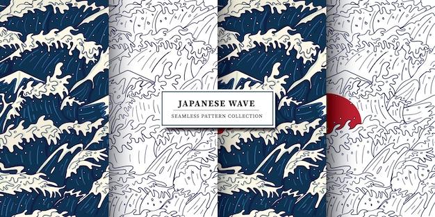Moderno vintage japonés estilo ukiyo-e onda tormental, océano furioso y sol rojo ilustración patrón sin fisuras
