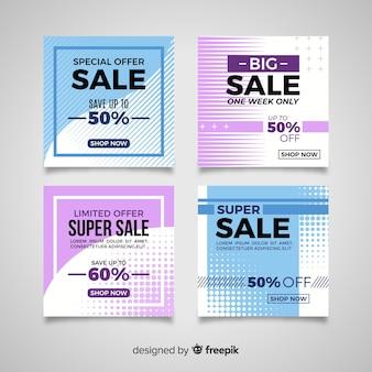 Modernos banners de venta para redes sociales.