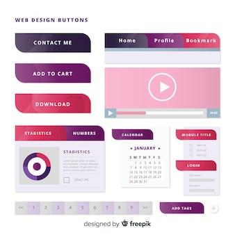 Modernos botones web en estilo gradiente