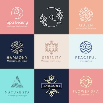 Modernos diseños de logotipo floral para centro de spa, salón de belleza o estudio de yoga.