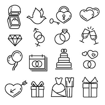 Modernos iconos de vector de línea delgada boda. elementos para boda, pastel de regalo de ilustración y anillo para matrimonio.